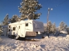 Spring Snow Covers Arctic Fox Fifth Wheel