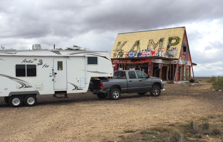 creepy Two Guns free camping