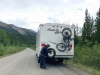 Flat Tire on Cassiar Stewart Highway near Good Hope Lake
