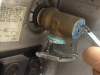 Open RV water heater pressure release valve.