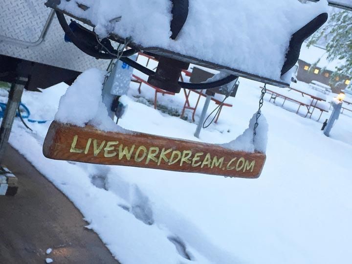 snowy rv site