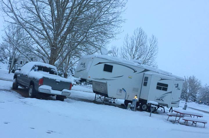 snowy campground