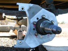 Titan Trailer Disc Brakes, Caliper Brackets installed