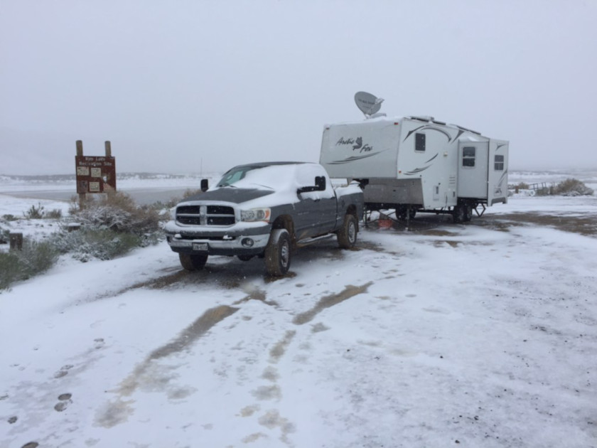 Rim Lake Boondocking in Snow