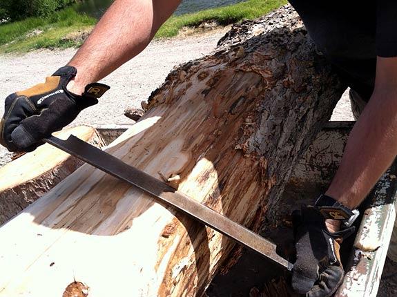 Jim Makes Log Benches by Hand Workamping