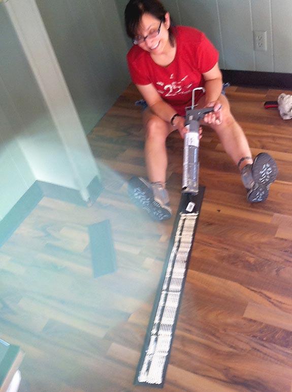 Installing vinyl cove bse molding workamping at Hemet RV Resort