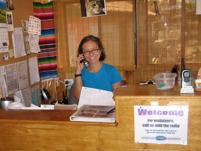 Rene works the front desk at Riverbend Hot Springs