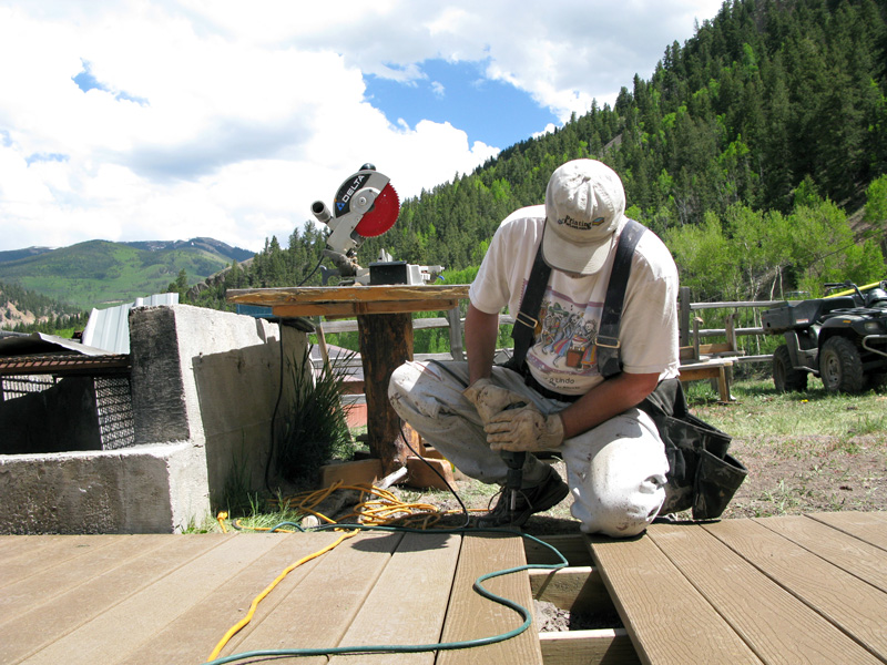 Jim building new deck behind Vickers Ranch rec hall