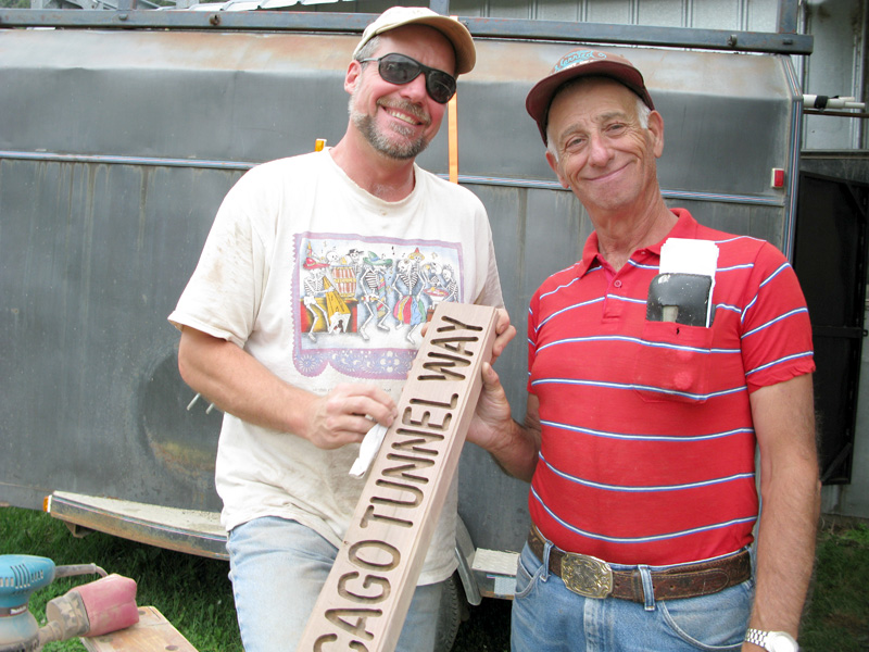 Woodworker Al provides Advice  About Street Signs while Workamping at Vickers Ranch