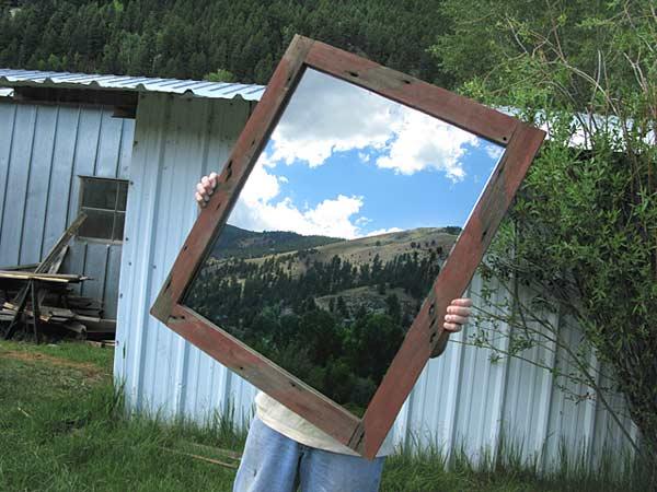 Upcycled Barnwood Mirror Made by Workamping Jim