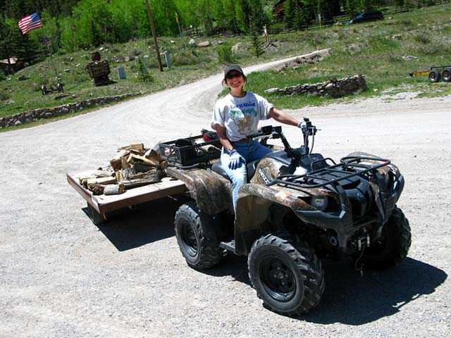 Rene delivering firewood workamping at Vickers Guest Ranch
