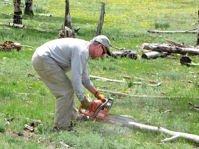 Jim collecting wood for Vickers Ranch Cookouts