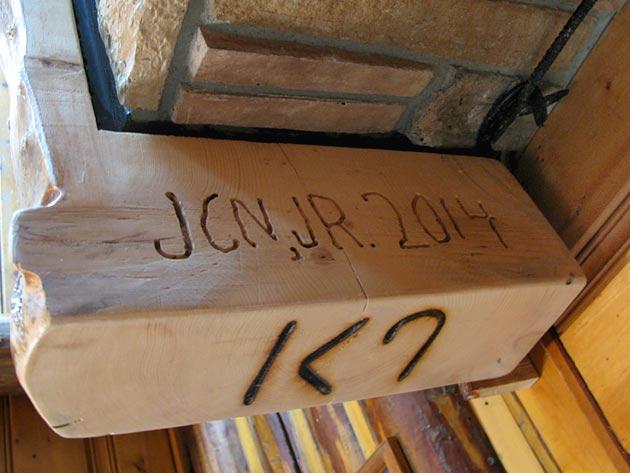 Handmade log Fireplace mantle Made Workamping at Ranch