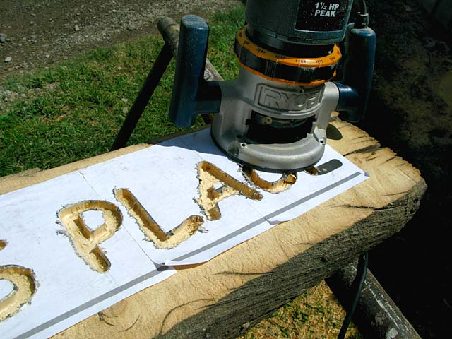 Making Carved Wood Sign to Honor Perk at Vickers Ranch