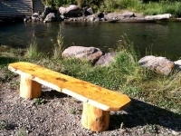 wood work log bench made ranch workamping