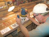 Making Condo Plat Street Signs while Workamping at Vickers Ranch