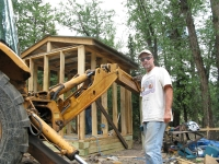 Jim finishes roof on new Vickers well house