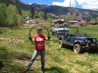 Rene Strings Fence at Workamping Ranch Job