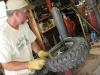 Jim repairs Jeep tire workamping at Vickers Ranch