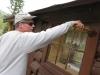 Jim painting cabins workamping at Vickers Guest Ranch