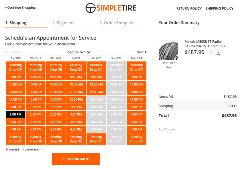 simpletire schedule appt