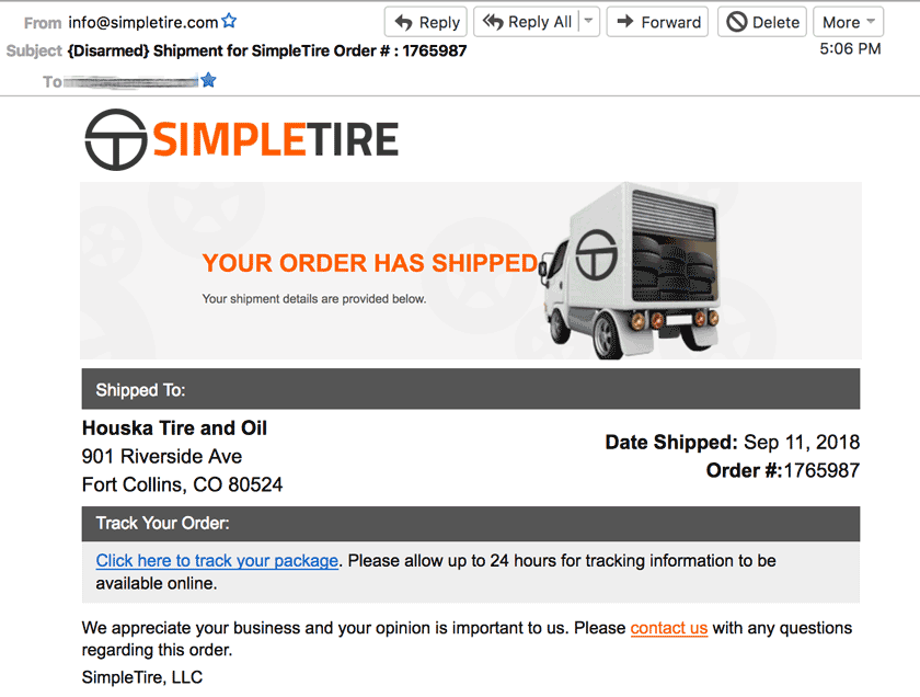 simpletire tires shipped