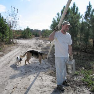 Jerry helps Jim clean up at Safe Harbor Animal Rescue